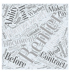 Before Renting An Apartment Word Cloud Concept vector