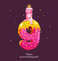 Birthday cake font number 9 with candle nine year vector