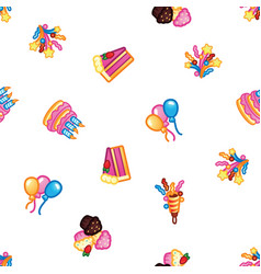 birthday pattern background sweet cake with vector image