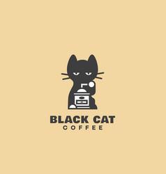 Black cat coffee logo vector