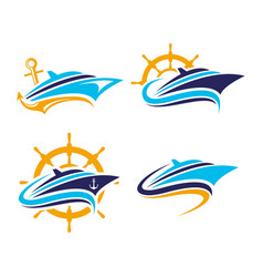 boat ships yacht cruise logo perfect vector image