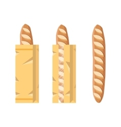 Bread in a paper bag Packed French Baguette loaf vector image