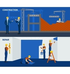 Building construction repair flat horizontal vector
