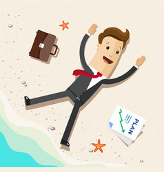 business man office worker or employee on beach vector image