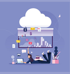 Businesswoman places data to protected cloud data vector