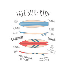 card with surfboards and slogans isolated on white vector image