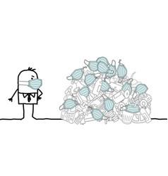Cartoon man watching a big pile garbage vector