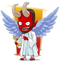 Cartoon red evil angel of hell vector image