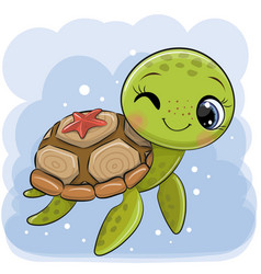 cartoon water turtle on a blue background vector image