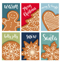 christmas card collection with gingerbread vector image