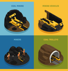 Coal mining isometric design concept vector