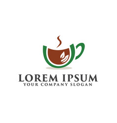 coffee green logo design concept template vector image