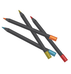 color pencils of black wood lay in mess vector image