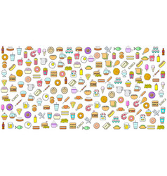 Colorful set fast food or street food related vector