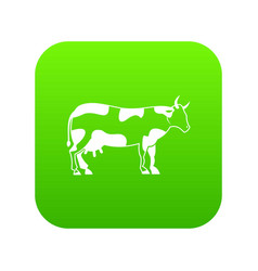 Cow icon digital green vector