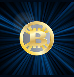 crypto currency bitcoin gold symbol rays vector image vector image