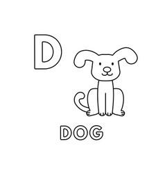 cute cartoon animals alphabet dog coloring vector image