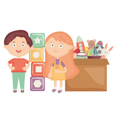 Cute little kids couple with toys box vector