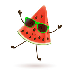 cute watermelon character jumping vector image