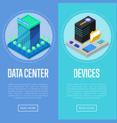 Data center and computer devices posters vector