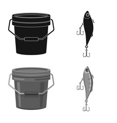 Design of fish and fishing sign set of vector