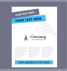 eiffel tower title page design for company vector image