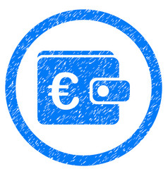 euro purse rounded icon rubber stamp vector image
