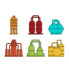 factory reserve icon set color outline style vector image