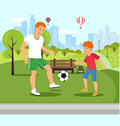flat dad teaches plays football with son vector image