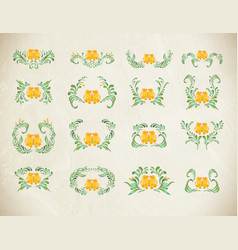 Folk yellow painting floral set vector