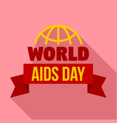 Global aids day logo set flat style vector
