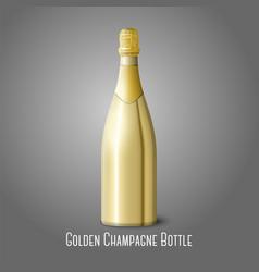 golden champagne bottle on gray background vector image