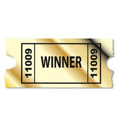 Golden winner ticket vector