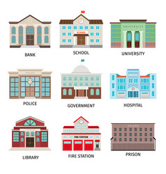 Government building colored icons vector