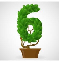 Green foliage houseplant alphabet Figures vector image