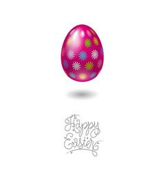 happy easter card egg floral pattern vector image