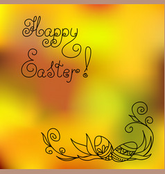 happy easter with easter eggs in corner vector image