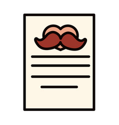 Happy fathers day letter moustache love vector