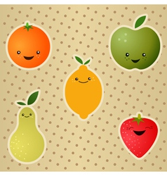 Happy fruits vector