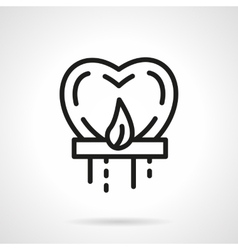 Heart sky lantern black simple line icon vector