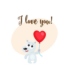 i love you card with bear holding heart shaped vector image