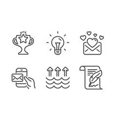 Idea evaporation and messenger mail icons set vector
