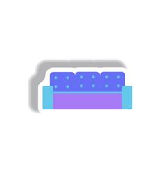 In paper sticker style sofa vector