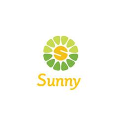 initial s flower sunny sun sunrise spring logo vector image