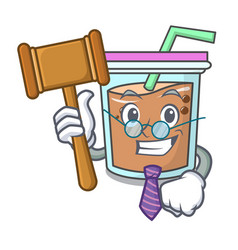 Judge bubble tea mascot cartoon vector