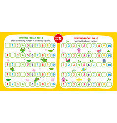 Kid game writing missing number in empty squares vector