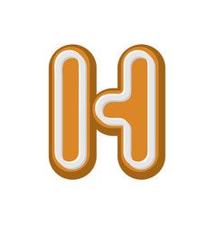 Letter h gingerbread peppermint honey-cake font vector