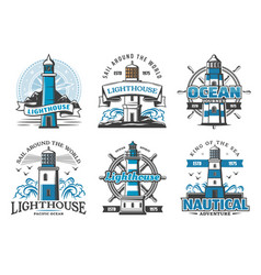 lighthouse beacons icons signs for nautical club vector image