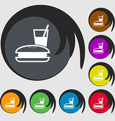 Lunch box icon sign Symbol on eight colored vector