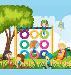 many children playing in the playground vector image